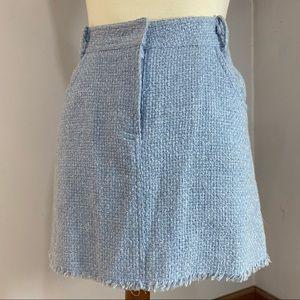 Milly New York blue tweed fringe spring mini skirt